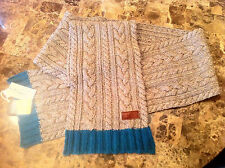 """NWT ORIGINAL PENGUIN: The Cable Knit Scarf - Grey/Green trim, 50% Wool, 8"""" x 64"""""""