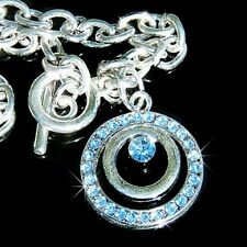 Blue CIRCLE OF LOVE w Swarovski Austrian Crystal Wedding Bridal Pendant Bracelet