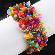 "Multicolor Shell Gemstone Chips Beads Weave Bangle Stretchy Bracelet 7"" SH079"