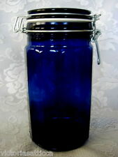 "Collectible Tall 7 3/4"" Cobalt Blue Glass Apothecary Jar/Bottle w/Wired Lid"