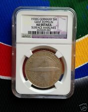 NGC AU 1930 G 5 Mark SILVER German Graf Zeppelin Weimar Republic Coin 5 Star
