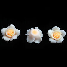 120pcs New Yellow&White FIMO Polymer Clay Charms Rose Flower Spacer Beads 25mm D