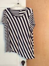 NEW - CATO - White/Navy stripped women tunic top Plus Size 18/20W