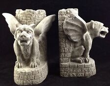 Gargoyle Gothic Bookends ~ HOME LIBRARY ~ Heavy Cast Stone Gray