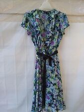 LADIES FLORAL  SHEER VINTAGE STYLE LOW CUT DRESS WITH SASH BY MSK SIZE 14