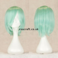 Short medium straight layered cosplay wig, pale teal, UK SELLER, Lily style