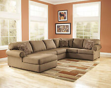MORGAN-Large Modern Mocha Microfiber Living Room Sofa Couch Chaise Sectional Set