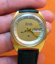 RARE SERVICED  218 TV ACCUTRON GOLD ELECTROPLATED  TUNING FORK MENS WATCH N3