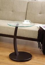 Round Accent End Table with Cappuccino Base and Glass Top  by Coaster 900256