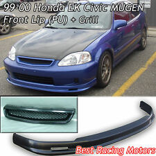 Mu-gen Style Front Lip (PU) + TR Style Grill (ABS) Fits 99-00 Honda Civic 3dr