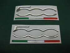2 Domed Fiat 500 Door pillar stickers 70mm x 26mm Chrome with Italian Flag