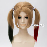 Brown Black Red Mixed Anime Cosplay Hair Full Wig + Two 45CM Straight Ponytails