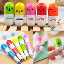 2pcs Cute Face Pill Ball Point Pen Telescopic Vitamin Capsule Ballpen Stationery