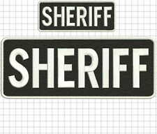 """""""Sheriff"""" embroidery patch  4x10 and 2x5 inches hook white"""