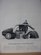 1962 VW Volkswagen Beetle Bug Dealer man of Many Parts Vintage Print Ad 10607
