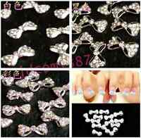 10Pcs Crystal Bow Knot Glitter Rhinestone Nail Art Tips 3D Stickers UK