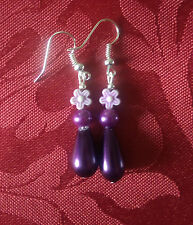 Drop glass pearl bead, purple drop dangle, silver plated hook,pearl flower 138