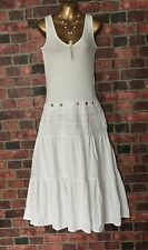 Made In Italy Long Fit & Flare Linen / Cotton Dress Tiered Skirt White Sz L (M)