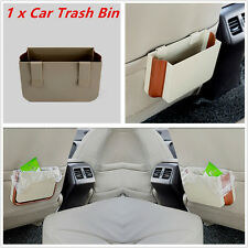 Beige Retractable Car Seat Back Trash Bin Multifunction Garbage Holder Cube Box