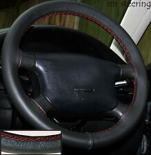 FITS SKODA FABIA MK1 99-07 100%REAL LEATHER STEERING WHEEL COVER RED STITCHING