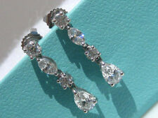 TIFFANY & CO. SWING DROP 1.39TCW DIAMOND PLATINUM EARRINGS GIFT BOXES