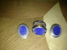 VINTAGE SET OF STERLING SILVER AND K14 GOLD RING AND EARRINGS WITH BLUE STONE