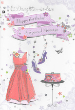 ISABELS GARDEN,DAUGHTER IN LAW  BIRTHDAY CARD,DRESS, SHOES THEME,3D HANDMADE(M4)