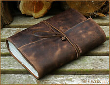 A5 DISTRESSED DARK BROWN LEATHER WRAPAROUND TRAVEL JOURNAL. Free inscription.