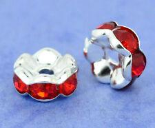 20 Pcs 8mm plata plateado Rondelle espaciador granos de diamante de imitación de flor roja hallazgos