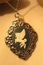 Lovely Floral Rim Dogwood Marine Blue and White Pegasus Silvrtn Pendant Necklace