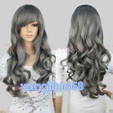 Ladies wig  dark gray Long Curly wavy  Cosplay party Wigs + free wig cap