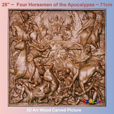 """28"""" Four Horsemen of the Apocalypse Carved Wood 3D bible  icon orthodox picture"""