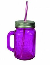 Deluxe Purple Glass Mason Jar Glass With Straw - Set Of 4