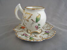 Vintage Sevres Handpainted Ornate Demitasse Footed Tea Cup & Saucer with Berries