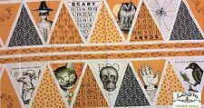 PNL49 Halloween Goth Skull Poe Raven Cat DIY Banner PANEL Cotton Quilting Fabric