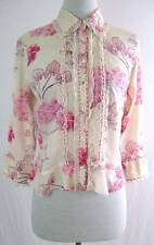 Anthropologie Fei Silk Trim Pink Floral Button Ruffle Blouse Top 2