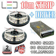 10m 12v Red LED Strip + 150w Driver 5050 IP65 300SMD 60SMD/m Bright Waterproof