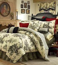 4pc Lavish Black/Ivory Classic Toile 100% Cotton Comforter Set Full