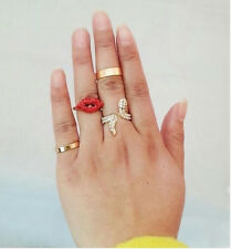 Fashion Punk Rhinestone Snake Red Lips Combination Golden Finger Joint Ring 1Set