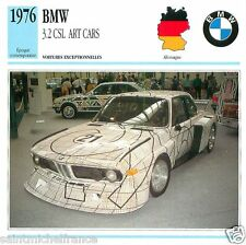 BMW 3.2 CSL ART CARS 1976 CAR VOITURE GERMANY ALLEMAGNE CARTE CARD FICHE