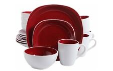 Gibson Tableware Dinner Plates Home 16 Piece Cadence Square Red Dinnerware Set