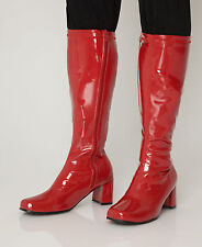 Red Boots - Womens Retro Cool GoGo Knee High Boots - Size 9 UK - Red Patent