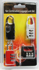 4pc Combination Lock Luggage Set Travel Suitcase Bag Bike Padlock Safety Locker