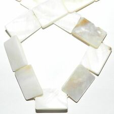 MP2156L2 White Natural 25x18mm Mother of Pearl Flat Rectangle Shell Beads 13""