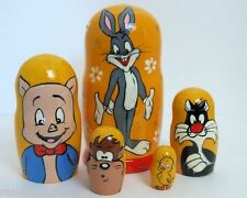 5pcs Hand Painted Russian Nesting Doll of Bugs Bunny Large Style 2