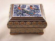 Persian Miniature Hand Painting Khatam Inlaid Handmade Jewelry Trinket Gift Box