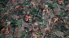 "Mixed Pine Camo Ameri Suede Upholstery Fabric 60"" W Hunt Velvet Soft True Timber"