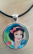 "Disney's ""SNOW WHITE"" Glass Pendant with Leather Necklace"
