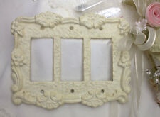 Cast Iron Triple Rocker Switch Plate White Outlet Cover Ornate Toggle GFI