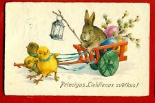 LATVIA LETTLAND EASTER CHILDREN AND RABBIT VINTAGE POSTCARD 4822